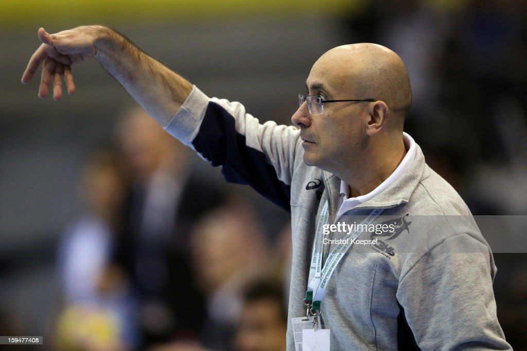 Head coach Jordi Ribera of Brazil issues instructions during the premilary group A match between Brasil and Argentina and Montenegro at Palacio de Deportes de Granollers on January 13, 2013 in Granollers, Spain.