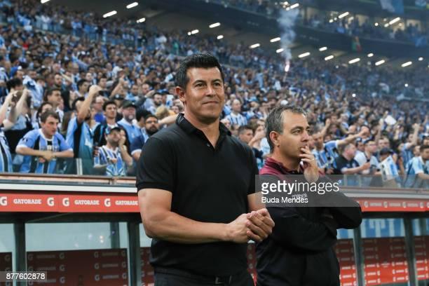 Head coach Jorge Almiron of Lanus looks on during a first leg match between Gremio and Lanus as part of Copa Bridgestone Libertadores 2017 Final at...