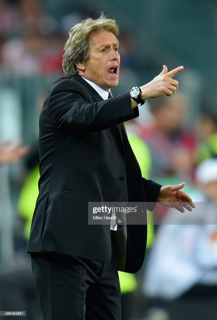 Head Coach <a gi-track='captionPersonalityLinkClicked' href=/galleries/search?phrase=Jorge+Jesus&family=editorial&specificpeople=686973 ng-click='$event.stopPropagation()'>Jorge Jesus</a> of Benfica reacts during the UEFA Europa League Final match between Sevilla FC and SL Benfica at Juventus Stadium on May 14, 2014 in Turin, Italy.