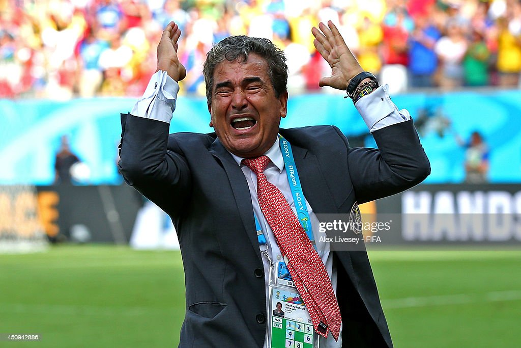 Head coach <a gi-track='captionPersonalityLinkClicked' href=/galleries/search?phrase=Jorge+Luis+Pinto&family=editorial&specificpeople=2548389 ng-click='$event.stopPropagation()'>Jorge Luis Pinto</a> of Costa Rica celebrates the 1-0 win after the 2014 FIFA World Cup Brazil Group D match between Italy and Costa Rica at Arena Pernambuco on June 20, 2014 in Recife, Brazil.