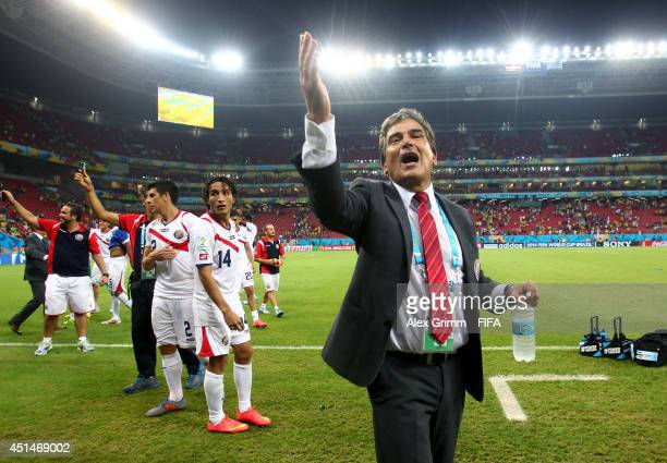 Head coach Jorge Luis Pinto of Costa Rica celebrates victory after the 2014 FIFA World Cup Brazil Round of 16 match between Costa Rica and Greece at...