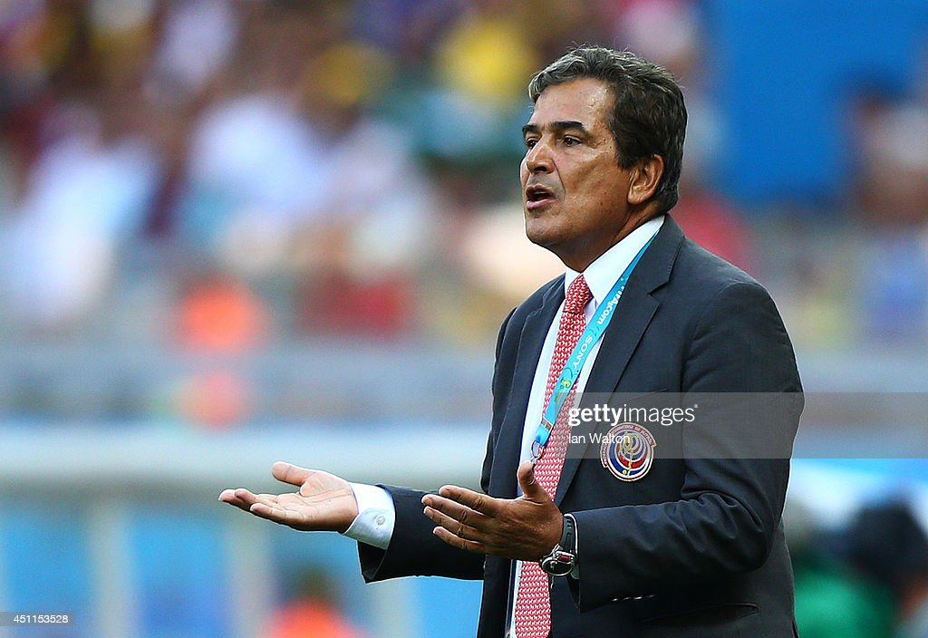 Head coach <a gi-track='captionPersonalityLinkClicked' href=/galleries/search?phrase=Jorge+Luis+Pinto&family=editorial&specificpeople=2548389 ng-click='$event.stopPropagation()'>Jorge Luis Pinto</a> of Costa Rica reacts during the 2014 FIFA World Cup Brazil Group D match between Costa Rica and England at Estadio Mineirao on June 24, 2014 in Belo Horizonte, Brazil.