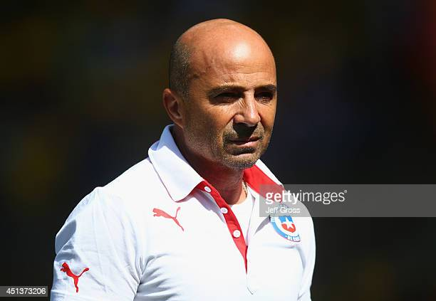 Head coach Jorge Sampaoli of Chile looks on during the 2014 FIFA World Cup Brazil round of 16 match between Brazil and Chile at Estadio Mineirao on...