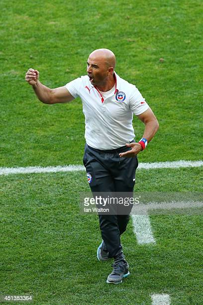 Head coach Jorge Sampaoli of Chile reacts during the 2014 FIFA World Cup Brazil round of 16 match between Brazil and Chile at Estadio Mineirao on...