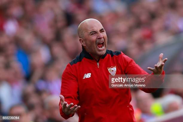 Head coach Jorge Sampaoli of Sevilla FC protests during the La Liga match between Club Atletico de Madrid and Sevilla FC at Vicente Calderon stadium...