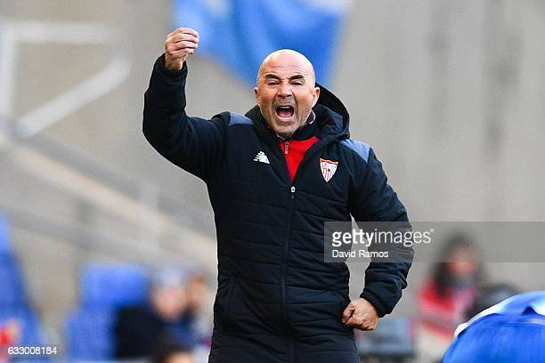 Head coach Jorge Sampaoli of Sevilla FC reacts during the La Liga match between RCD Espanyol and Sevilla FC at CornellaEl Prat stadium on January 29...