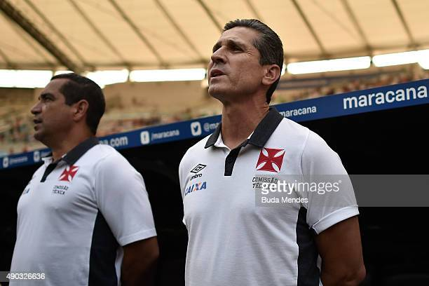 Head coach Jorginho of Vasco in action during a match between Flamengo and Vasco as part of Brasileirao Series A 2015 at Maracana Stadium on...