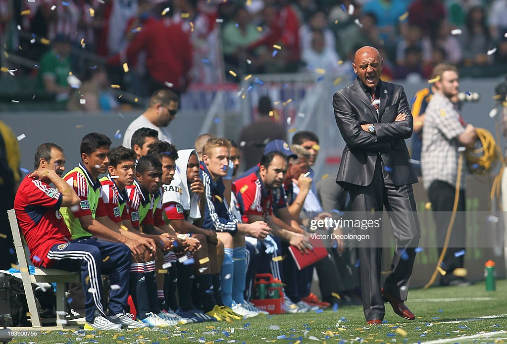Head Coach Jose Luis Sanchez Sola of Chivas USA shouts from the sideline during the first half of their MLS match against the Los Angeles Galaxy at The Home Depot Center on March 17, 2013 in Carson, California. Chivas USA and the Los Angeles Galaxy played to a 1-1 draw.