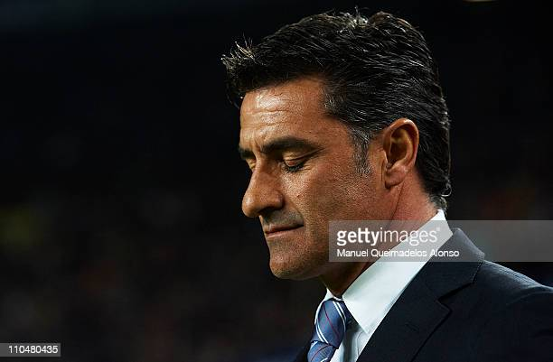 Head Coach Jose Miguel Gonzalez 'Michel' of Getafe reacts during the La Liga match between Barcelona and Getafe at Camp Nou on March 19 2011 in...