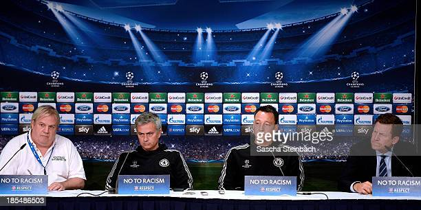Head coach Jose Mourinho and John Terry look on during a Chelsea FC press conference prior to their UEFA Champions League qualification match against...