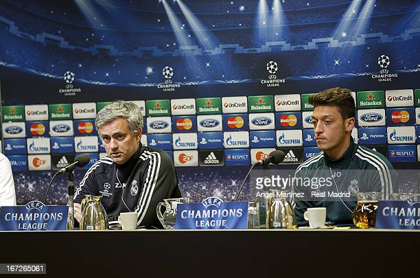 Head coach Jose Mourinho and Mesut Ozil of Real Madrid attend a press conference ahead of their UEFA Champions League Semi Final first leg match...