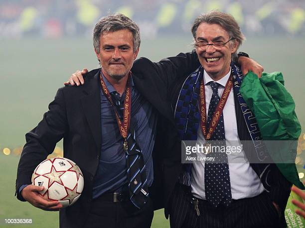 Head coach Jose Mourinho and president Massimo Moratti of Inter Milan celebrate their team's victory at the end of the UEFA Champions League Final...