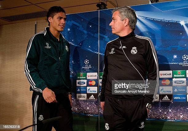 Head coach Jose Mourinho and Real madrid player Raphael varane prior to start a press conference ahead of the UEFA Champions League Quarterfinal...