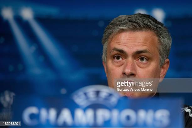 Head coach Jose Mourinho listen to questions from the media during a press conference ahead of the UEFA Champions League Quarterfinal match between...