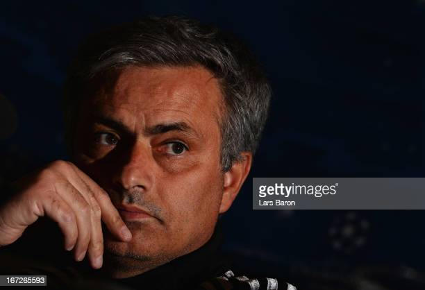 Head coach Jose Mourinho looks on during a Real Madrid press conference ahead of their UEFA Champions League Semi Final first leg match against...