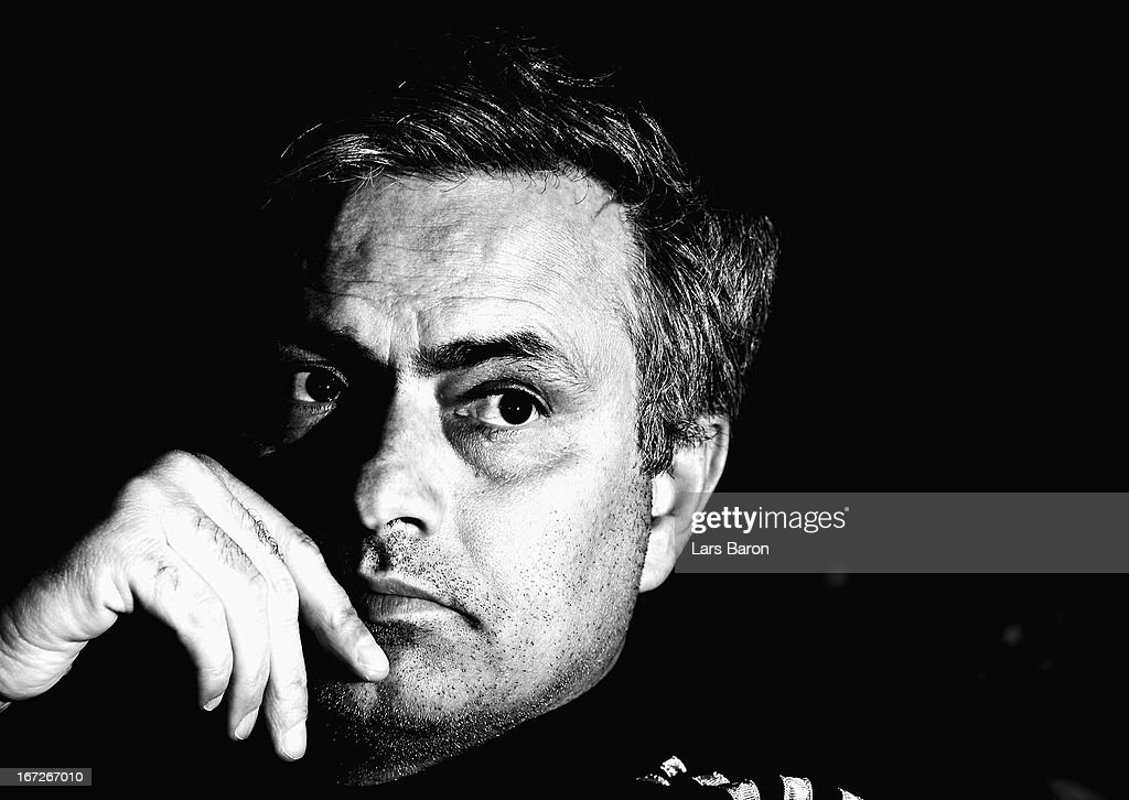 Head coach Jose Mourinho looks on during a Real Madrid press conference ahead of their UEFA Champions League Semi Final first leg match against Borussia Dortmund on April 23, 2013 in Dortmund, Germany.