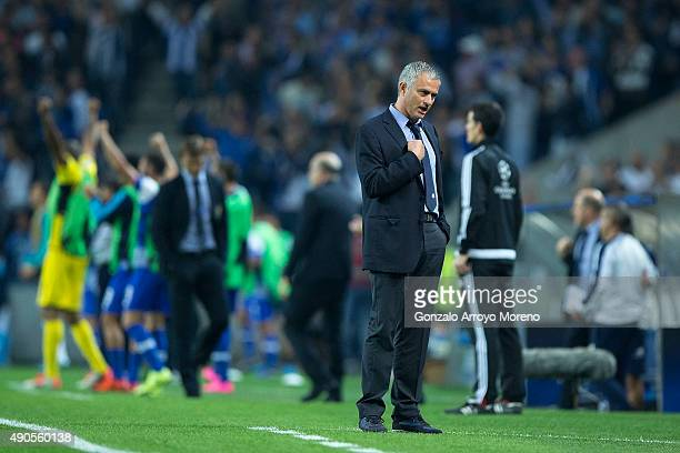 head coach Jose Mourinho of Chelsea FC reacts as Porto scores their second goal during the UEFA Champions League Group G match between FC Porto and...