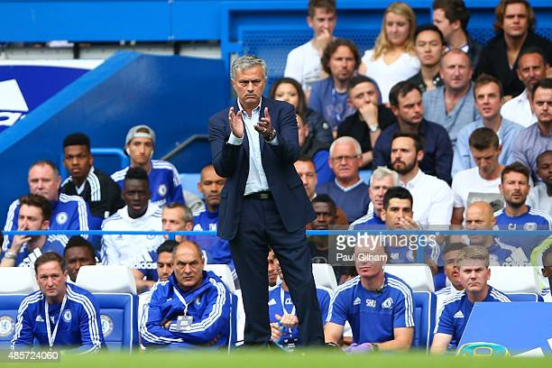 Head coach Jose Mourinho of Chelsea gestures during the Barclays Premier League match between Chelsea and Crystal Palace at Stamford Bridge on August...