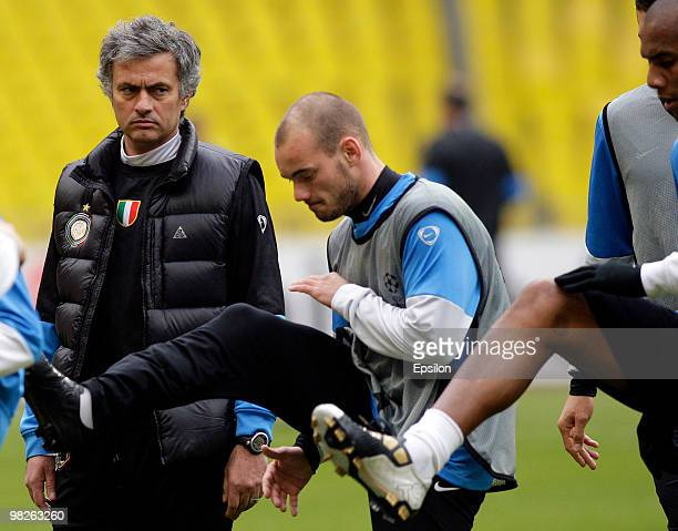 Head coach Jose Mourinho of FC Internazionale Milano during an official training session on the eve of their second leg Quarter final match against...