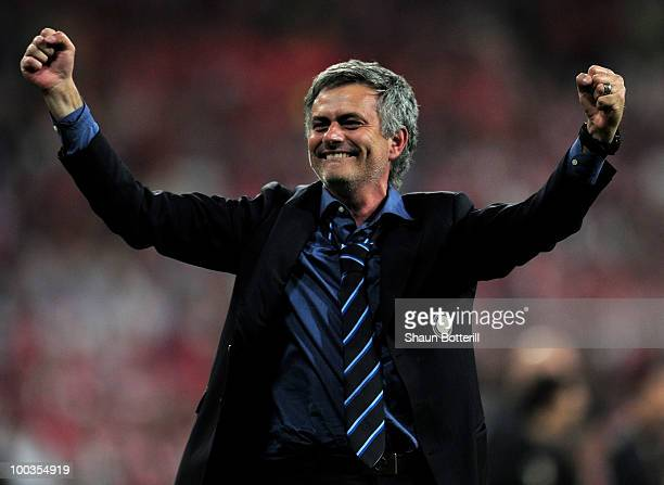 Head coach Jose Mourinho of Inter Milan celebrates his team's victory at the end of during the UEFA Champions League Final match between FC Bayern...