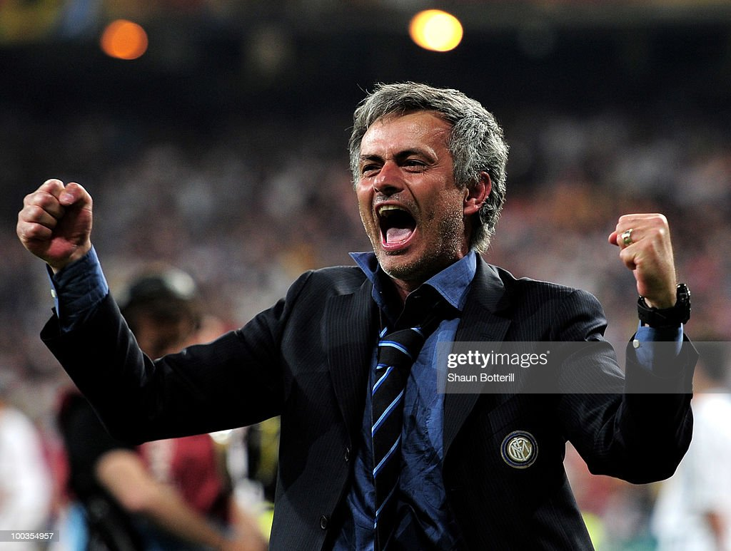 Head coach Jose Mourinho of Inter Milan celebrates his team's victory at the end of during the UEFA Champions League Final match between FC Bayern Muenchen and Inter Milan at the Estadio Santiago Bernabeu on May 22, 2010 in Madrid, Spain.