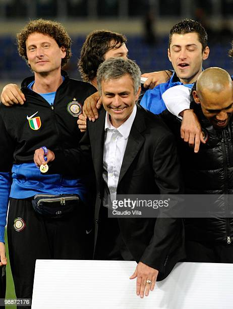 Head coach Jose Mourinho of Inter Milan during the Tim Cup final between FC Internazionale Milano and AS Roma at Stadio Olimpico on May 5 2010 in...
