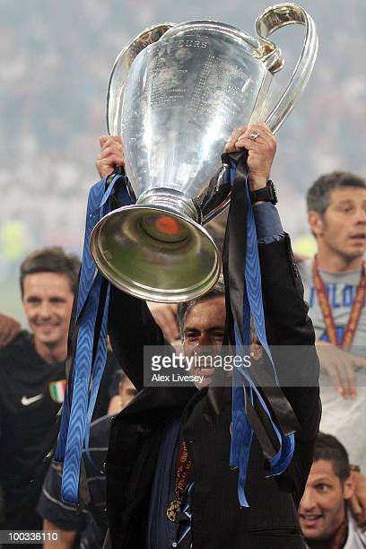 Head coach Jose Mourinho of Inter Milan lifts the UEFA Champions League trophy following their team's victory at the end of the UEFA Champions League...