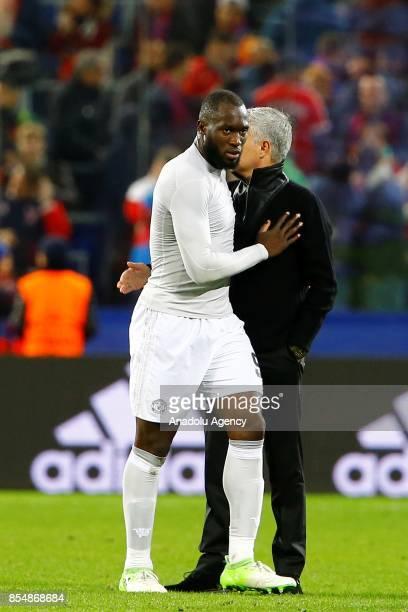 Head Coach Jose Mourinho of Manchester United handshake Romelu Lukaku after the match score the UEFA Champions League match between CSKA Moscow and...