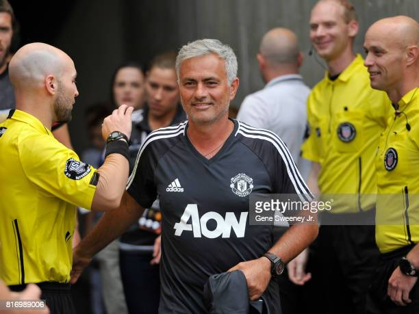 Head coach Jose Mourinho of Manchester United takes the field before their game against the Real Salt Lake during the International friendly game at...