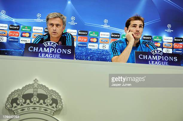 Head coach Jose Mourinho of Real Madrid and goalkeeper Iker Casillas listen to questions from the media during a press conference ahead of their UEFA...