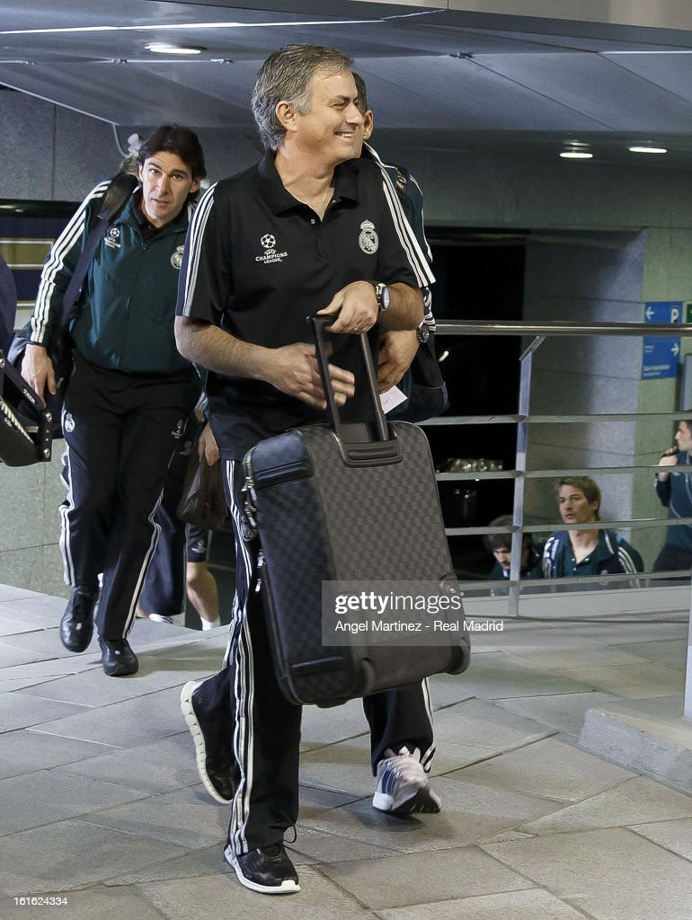 Head coach Jose Mourinho of Real Madrid arrives to the stadium before the UEFA Champions League Round of 16 first leg match between Real Madrid and Manchester United at Estadio Santiago Bernabeu on February 13, 2013 in Madrid, Spain.