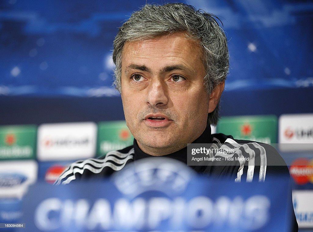 Head coach Jose Mourinho of Real Madrid attends a press conference on the eve of their UEFA Champions League Round of 16 match against Manchester United at Old Trafford on March 4, 2013 in Manchester, England.