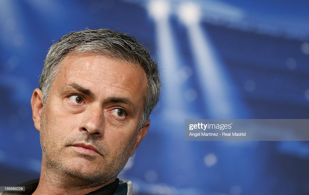 Head coach Jose Mourinho of Real Madrid attends a press conference ahead of their UEFA Champions League group stage match against Borussia Dortmund at Santiago Bernabeu stadium on November 5, 2012 in Madrid, Spain.