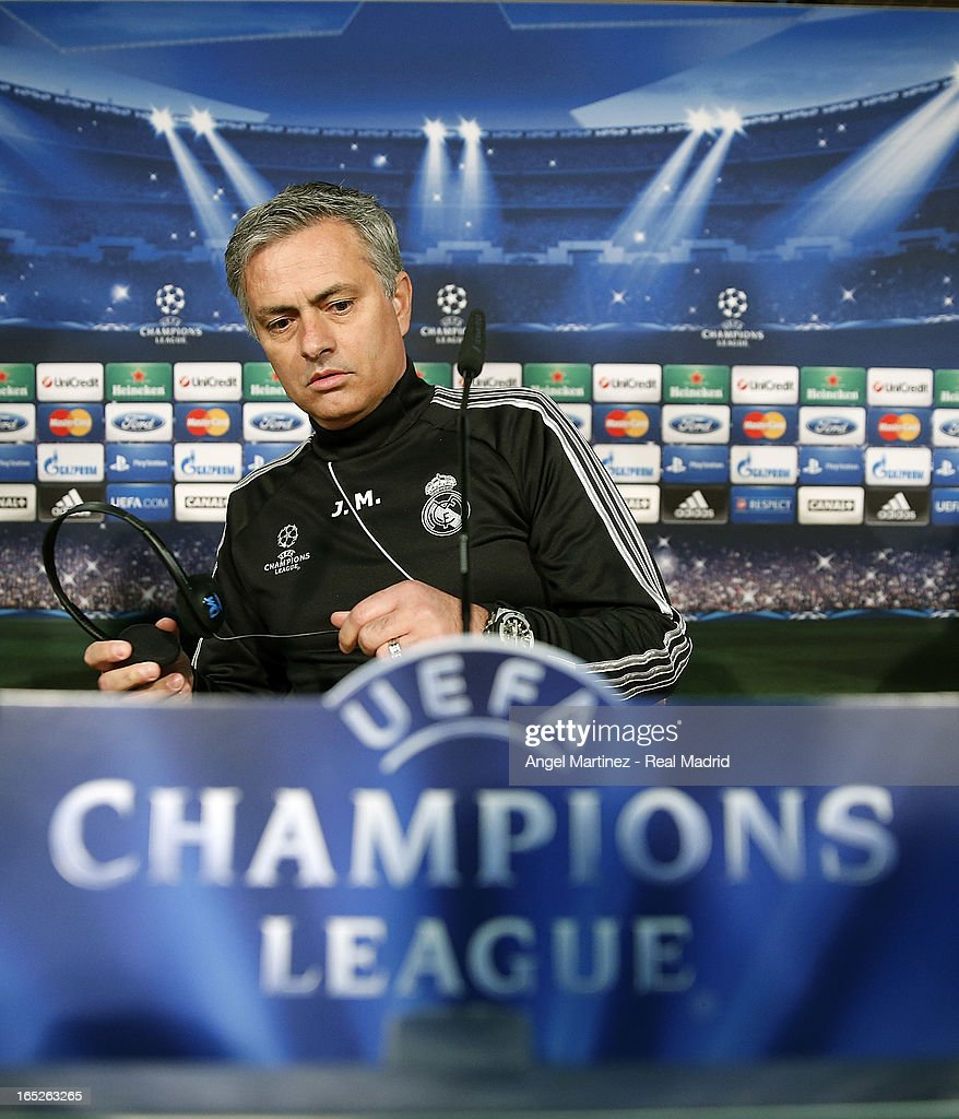 Head coach Jose Mourinho of Real Madrid attends a press conference ahead of their UEFA Champions League quarter-final first leg match against Galatasaray AS at the Valdebebas training ground on April 2, 2013 in Madrid, Spain.