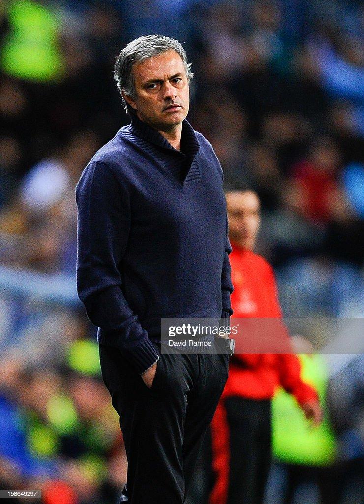 Head coach Jose Mourinho of Real Madrid CF looks on during the La Liga match between Malaga CF and Real Madrid CF at La Rosaleda Stadium on December 22, 2012 in Malaga, Spain. Real madrid lost 3-2.