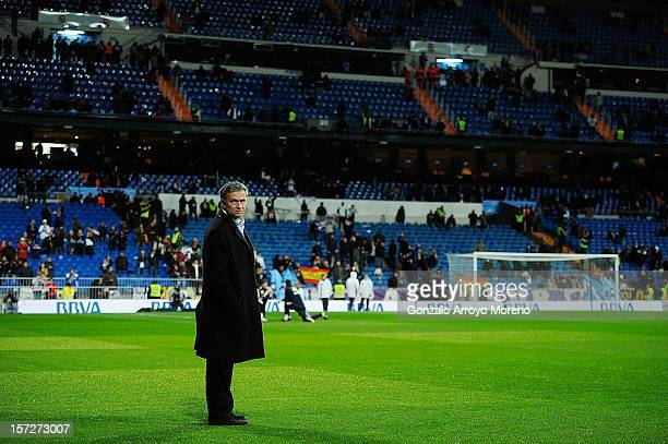 Head coach Jose Mourinho of Real Madrid CF presents himself on the pitch to be insulted and offended by Real Madrid fans prior to start the La Liga...