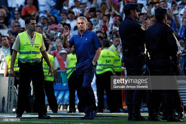 Head coach Jose Mourinho of Real Madrid CF says goodbye to the Real Madrid fans for the last time after the La Liga match between Real Madrid CF and...