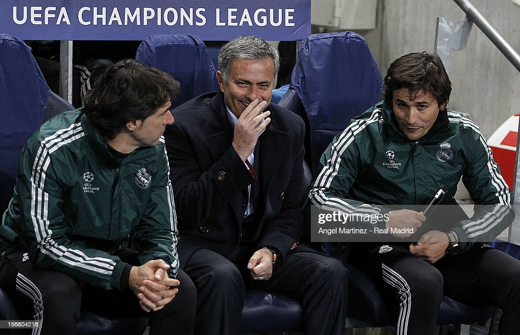 Head coach Jose Mourinho (C) of Real Madrid chats with his assistants Aitor Karanka (L) and Rui Faria before the UEFA Champions League Group D match between Manchester City FC and Real Madrid at Etihad Stadium on November 21, 2012 in Manchester, England.