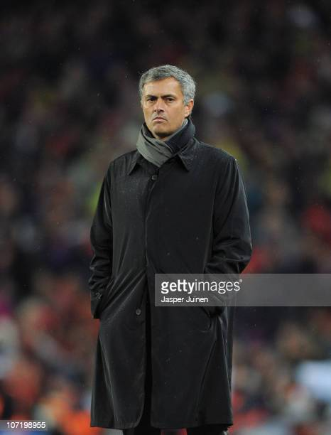 Head coach Jose Mourinho of Real Madrid follows the game during the la liga match between Barcelona and Real Madrid at the Camp Nou stadium on...