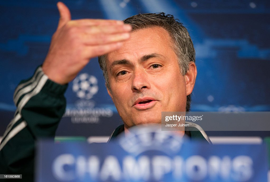 Head coach Jose Mourinho of Real Madrid gestures as he speaks to the media during a press conference ahead of the UEFA Champions League match between Real Madrid CF and Manchester United at the Valdebebas training ground on February 12, 2013 in Madrid, Spain.
