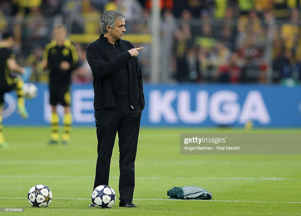 Head coach Jose Mourinho of Real Madrid gestures before the UEFA Champions League Semi Final first leg match between Borussia Dortmund and Real Madrid at Signal Iduna Park on April 24, 2013 in Dortmund, Germany.