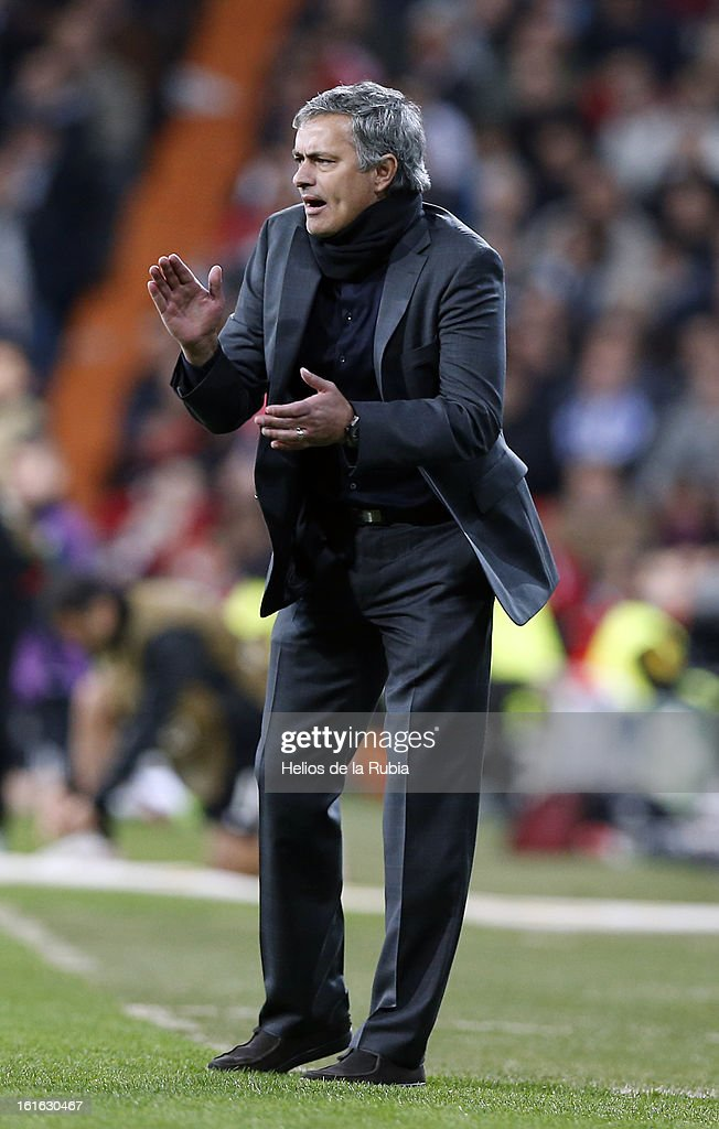 Head coach Jose Mourinho of Real Madrid gestures during the UEFA Champions League Round of 16 first leg match between Real Madrid and Manchester United at Estadio Santiago Bernabeu on February 13, 2013 in Madrid, Spain.