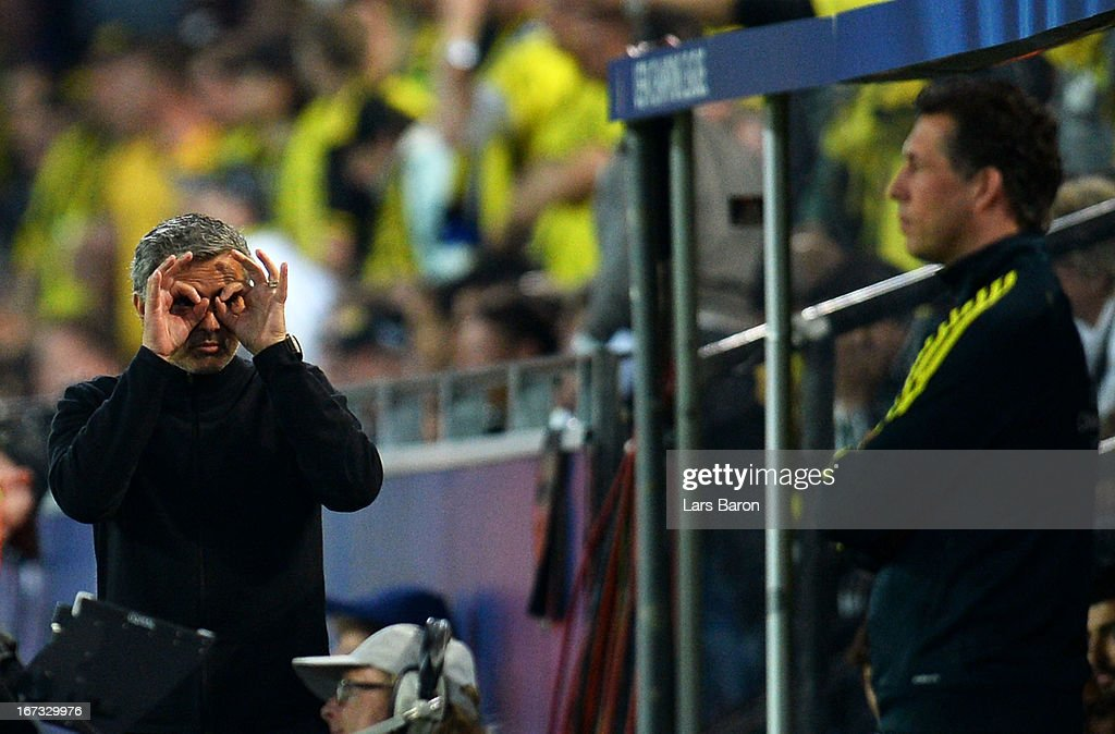 Head coach Jose Mourinho of Real Madrid gestures to the fourth official during the UEFA Champions League semi final first leg match between Borussia Dortmund and Real Madrid at Signal Iduna Park on April 24, 2013 in Dortmund, Germany.