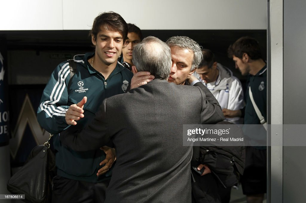 Head coach Jose Mourinho (R) of Real Madrid kisses president <a gi-track='captionPersonalityLinkClicked' href=/galleries/search?phrase=Florentino+Perez&family=editorial&specificpeople=567584 ng-click='$event.stopPropagation()'>Florentino Perez</a> before the UEFA Champions League Semi Final second leg match between Real Madrid and Borussia Dortmund at Estadio Santiago Bernabeu on April 30, 2013 in Madrid, Spain.
