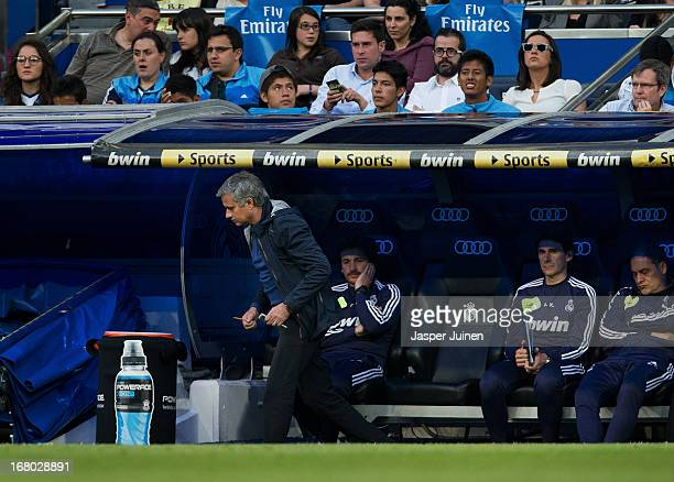 Head coach Jose Mourinho of Real Madrid leaves the pitch before the end of the first half during the la Liga match between Real Madrid CF and Real...
