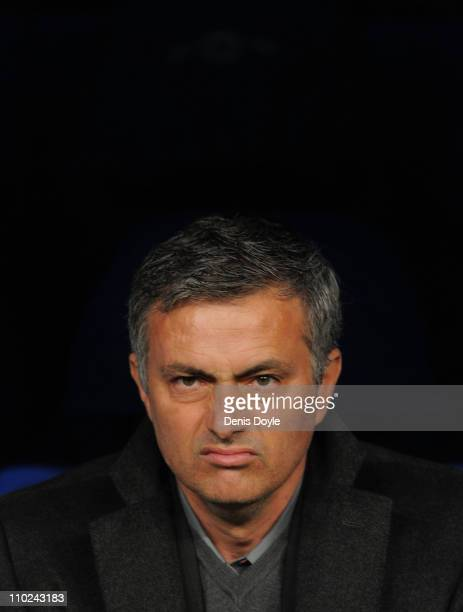 Head coach Jose Mourinho of Real Madrid looks on before the start of the UEFA Champions League round of 16 second leg match between Real Madrid and...