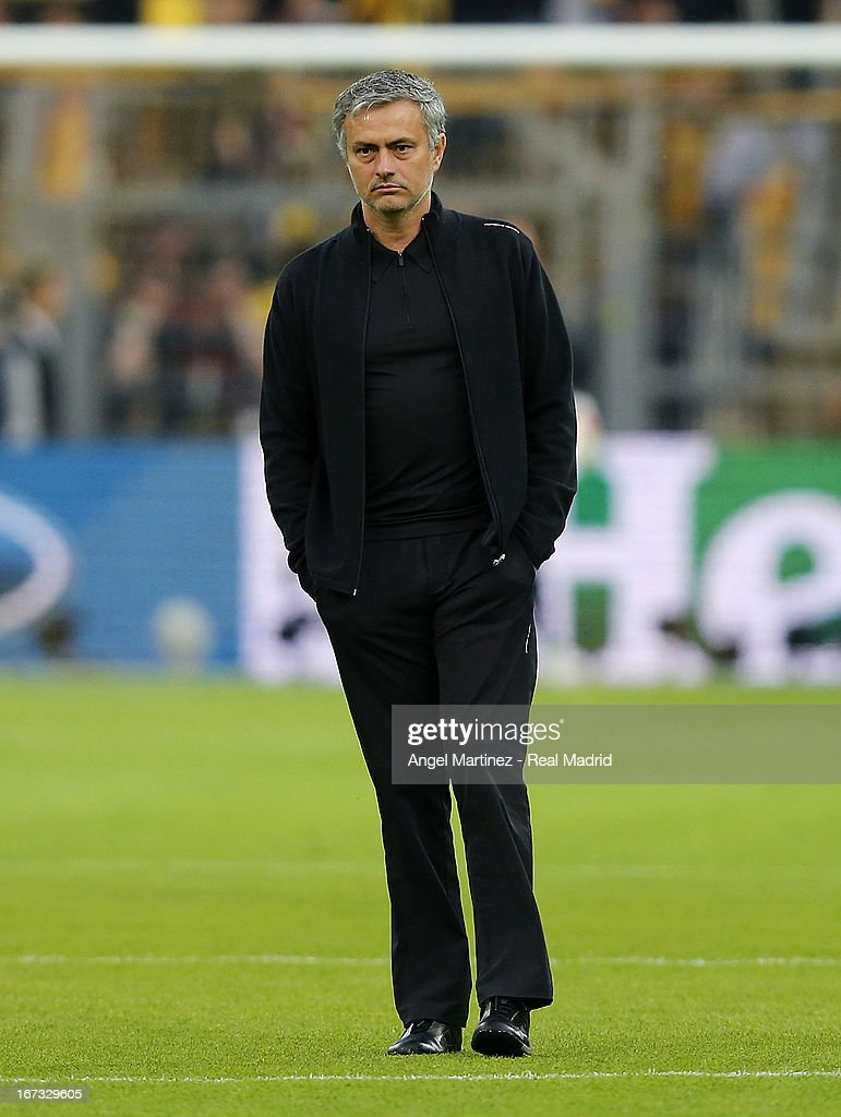 Head coach Jose Mourinho of Real Madrid looks on before the UEFA Champions League Semi Final first leg match between Borussia Dortmund and Real Madrid at Signal Iduna Park on April 24, 2013 in Dortmund, Germany.