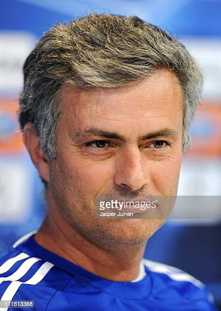 Head coach Jose Mourinho of Real Madrid looks on during a press conference ahead of their UEFA Champions League quarter final first leg match against...