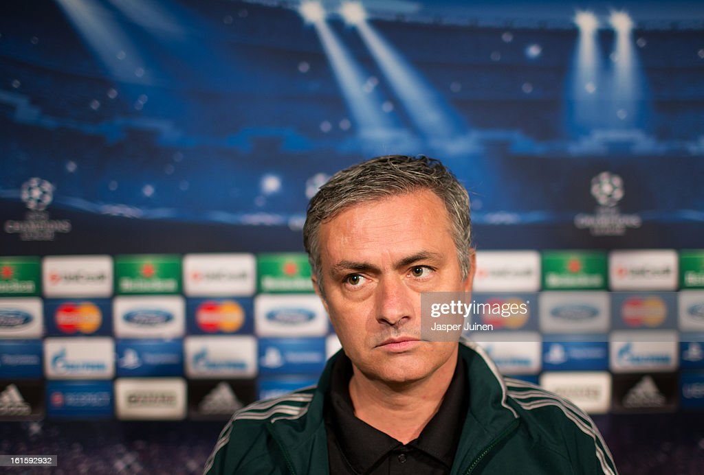 Head coach Jose Mourinho of Real Madrid looks on during a press conference ahead of the UEFA Champions League match between Real Madrid CF and Manchester United at the Valdebebas training ground on February 12, 2013 in Madrid, Spain.