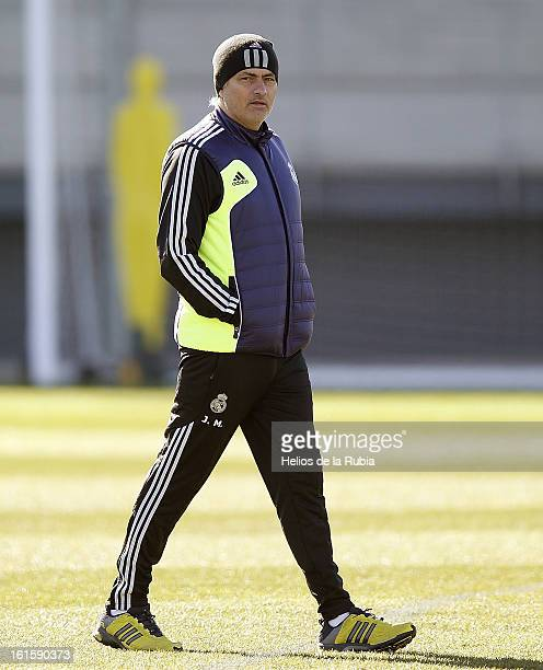 Head coach Jose Mourinho of Real Madrid looks on during a training session ahead of the UEFA Champions League match between Real Madrid CF and...